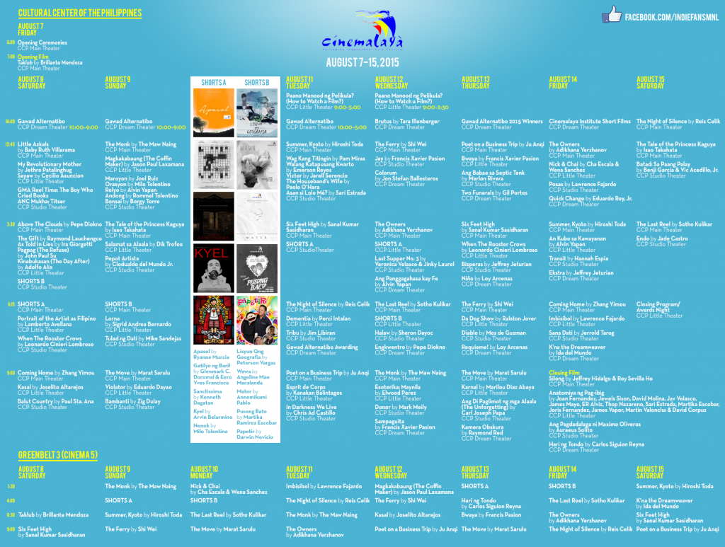 Cinemalaya 2015 Schedule