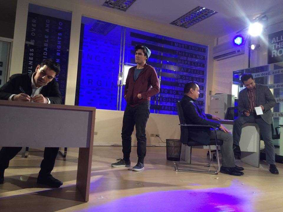 "Jason (Hans Eckstein) and Tommy (Bibo Reyes) on one side; Scott (Jeremy Domingo) and the detective (Chino Veguillas) on the other. In Twin Bill Theater's staging of Andrew Hinderaker's ""Suicide, Incorporated"""