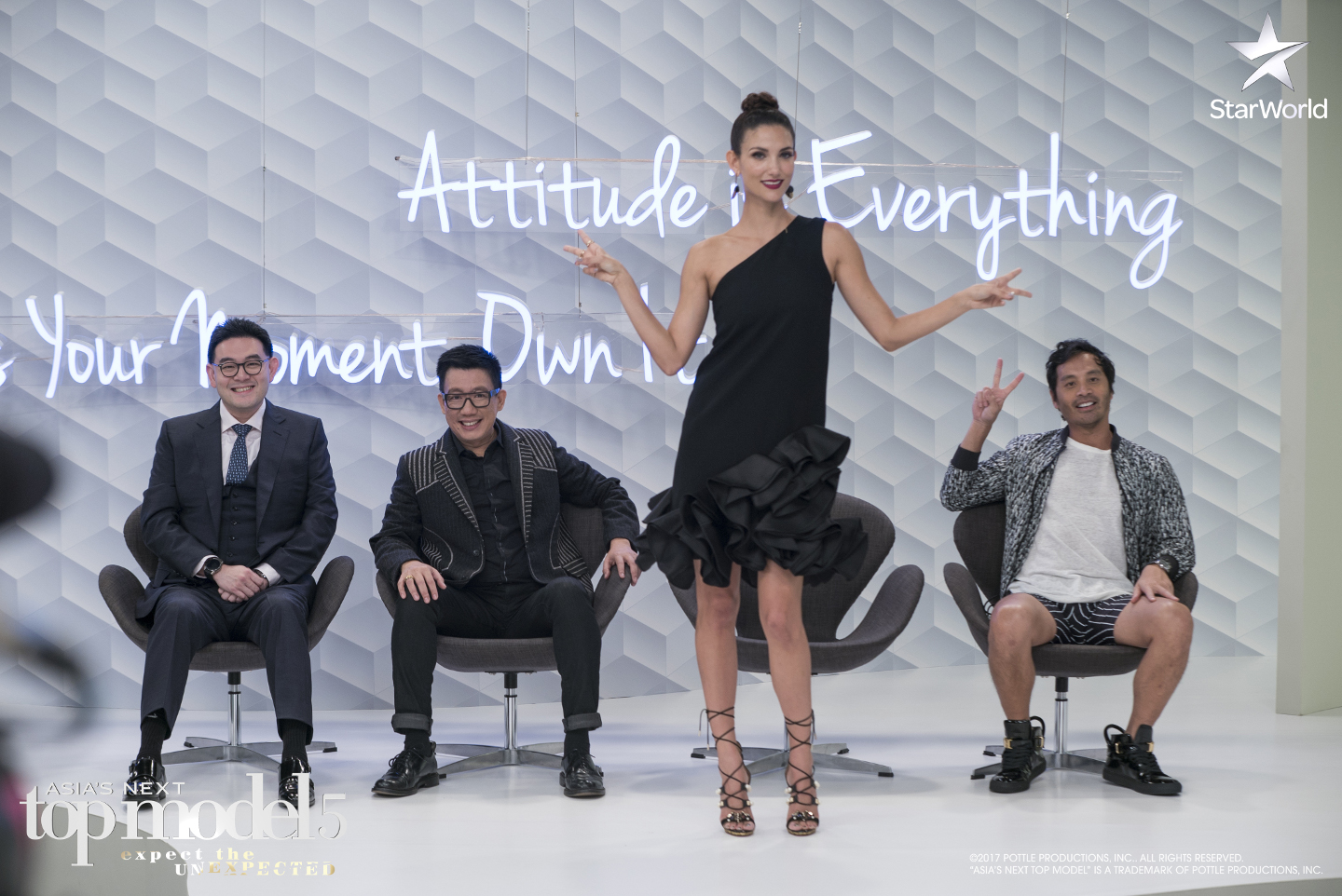 Glenn Tan, Daniel Boey, Cindy Bishop and Yu Tsai on the panel for Asia's Next Top Model Cycle 5 Episode 9