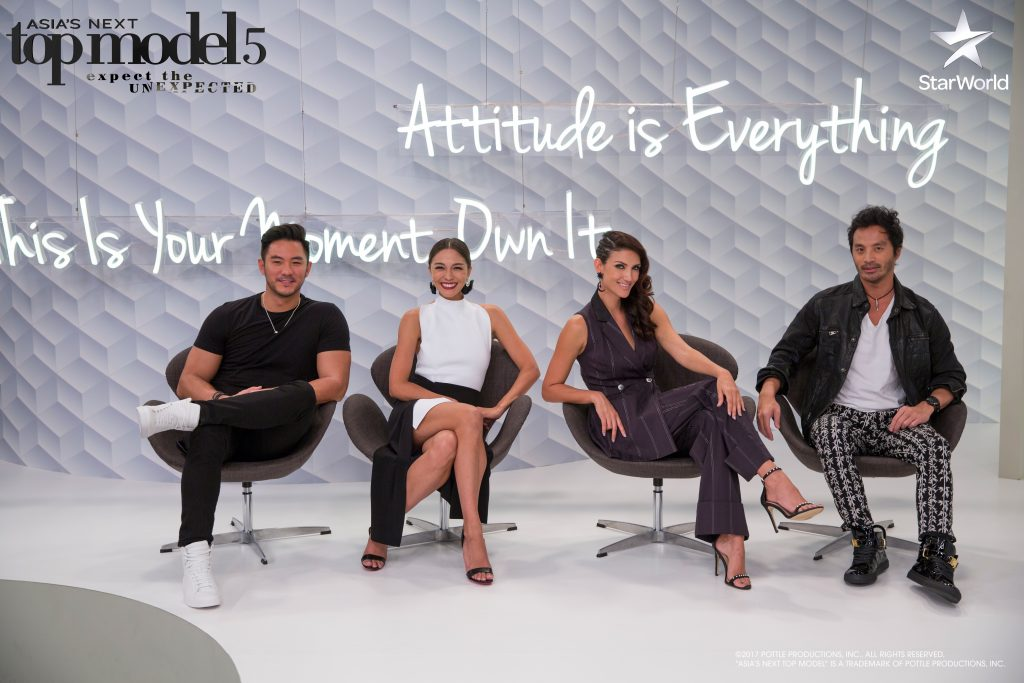 Model-host Dominic Lau joins Cara, Cindy and Yu Tsai on the panel for Asia's Next Top Model Cycle 5 Episode 8